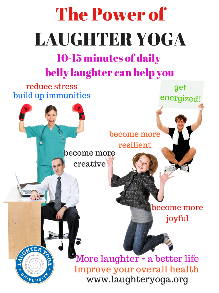 laughter yoga The medicinal effects of laughter are no joke even forcing a chortle improves  your health, which is why people in 100 countries have joined.